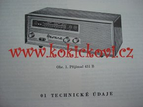 TESLA 431 B HAVANA NÁVOD K ÚDRŽBĚ - A4 - 18 STRAN