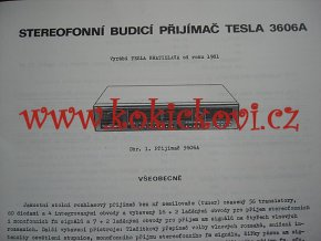 TESLA 3606 A - TESLA BRATISLAVA 1981 - NÁVOD K ÚDRŽBĚ - A4 - 40 STRAN