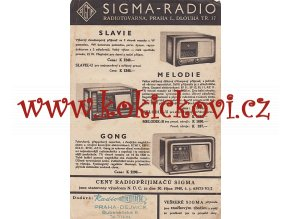 RADIO LETÁK SIGMA RADIO A5 - GONG - SLAVIE - MELODIE