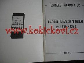 DIALKOVÉ OVLADANIE TESLA FTVP 4429 A - POPIS ZAPOJENÍ SCHEMA - A4 - 30 STRAN - 198?