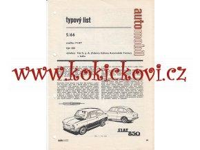 FIAT 850 TYPOVÝ LIST - 4 STRANY A4