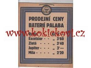 REKLAMNÍ TABULE - PRODEJNÍ CENY BATERIÍ PALABA - BŘEZEN 1929 - KARTON 22*25 CM
