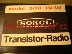TRANZISTOROVÉ RÁDIO SOKOL MODEL 308 FM - AM - NÁVOD K OBSLUZE RUSKY A ANGLICKY