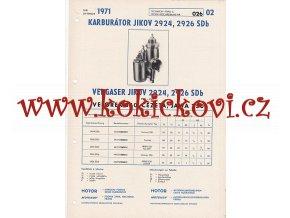 VELOREX 350 - ČEZETA - JAWA 250 - KARBURÁTOR JIKOV 2924 , 2926 - TECHNICKÝ POPIS