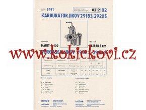 MANET S 100 A TATRAN S 125 - KARBURÁTOR JIKOV - TECHNICKÝ POPIS - A4