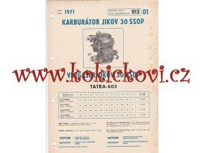 TATRA 603 - KARBURÁTOR JIKOV 30 SS0P- TECHNICKÝ POPIS - A4