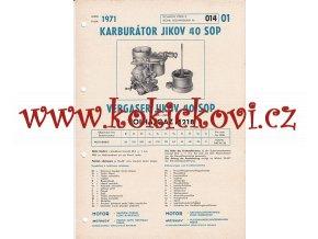 VOLHA - GAZ M 218 - KARBURÁTOR JIKOV - TECHNICKÝ POPIS - A4