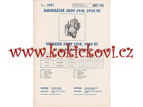 MOTOCYKL ČZ 150 SPECIAL A ČZ 150 C - KARBURÁTOR JIKOV - TECHNICKÝ POPIS - A4