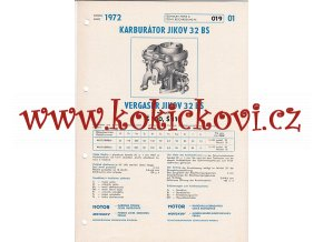 ŠKODA 100 - ŠKODA 110 - KARBURÁTOR JIKOV - TECHNICKÝ POPIS - A4