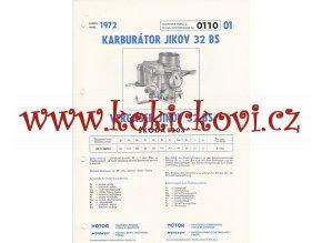 ŠKODA 1203 - KARBURÁTOR JIKOV - TECHNICKÝ POPIS - A4