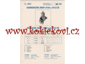 MOTOCYKL ČZ 250 - ČZ 360 - JAWA 250 - KARBURÁTOR JIKOV - TECHNICKÝ POPIS - A4