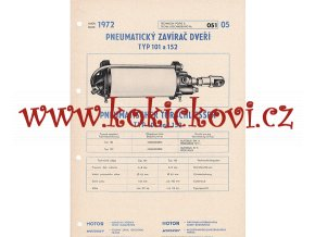 PNEUMATICKÝ ZAVÍRAČ DVEŘÍ TYP 101 A 152 - TECHNICKÝ POPIS - A4