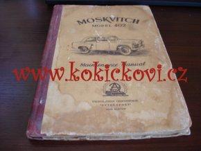 MOSKVITCH MODEL 402 - MAITENANCE MANUAL - MOSKVIČ 402 NÁVOD K OBSLUZE