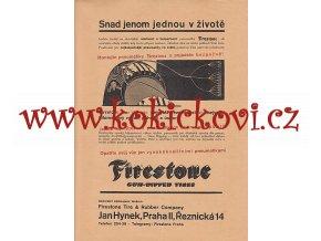 REKLAMNÍ LETÁK PNEUMATIKY FIRESTONE 1A4 OBOUSTRANNĚ 1932