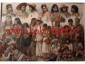 INDIÁNI AMERIKY - TYPY - BAREVNÁ LITOGRAFIE - CCA 1900 V PASPARTĚ
