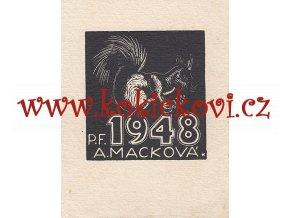 Anna Macková P.F. 1948 A. Macková - originál - dřevoryt 1947
