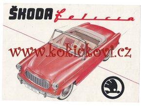 1959 ŠKODA FELICIA KABRIOLET ORIG. MOTOKOV BROŽURA - NĚMECKY