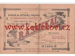 C.K. TOVÁRNA NA STŘÍKAČKY A HASIČSKÉ NÁŘADÍ R.A. SMEKAL - CENÍK NÁŘADÍ A VÝZBROJE 1893