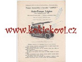 AUTO POMPE LÉGERE LAFFLY type Boulogne sur Mer - REKLAMNÍ PROSPEKT 1923