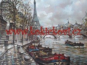 PAŘÍŽ - POHLED OD ŘEKY - UMĚLECKÝ TISK - VHODNÉ K DEKORACI 45*35 CM