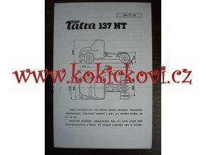 TATRA 137 NT - TECHNICKÝ LIST - LETÁK - 1 LIST A5