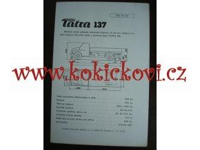 TATRA 137  - TECHNICKÝ LIST - LETÁK - 1 LIST A5