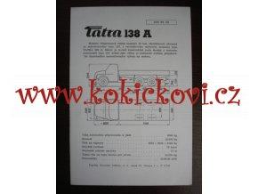 TATRA 138 A - TECHNICKÝ LIST - LETÁK - 1 LIST A5
