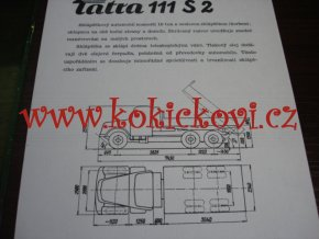 TATRA 111 S 2 - TECHNICKÝ LIST - LETÁK - 2 STR. A5