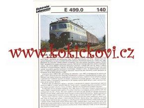 ELEKTRICKÁ LOKOMOTIVA - E 499.0 - REKLAMNÍ PROSPEKT - A4 - 2 STRANY