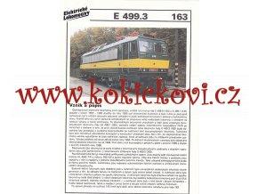ELEKTRICKÁ LOKOMOTIVA - E 499.3 - REKLAMNÍ PROSPEKT - A4 - 2 STRANY