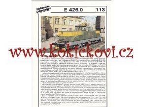 ELEKTRICKÁ LOKOMOTIVA - S 426.0 - REKLAMNÍ PROSPEKT - A4 - 2 STRANY