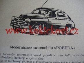 AUTOMOBIL POBĚDA - POKYNY PRO ÚDRŽBU - MOTOKOV - 1956 -144 STRAN - A5