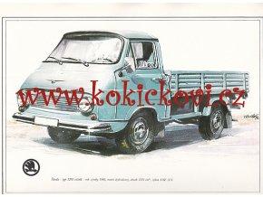 ŠKODA 1203 VALNÍK - REKLAMNÍ KRESBA REPRODUKCE - VLADIMÍR BIDLO - 1972