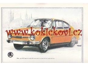 ŠKODA 110 R COUPÉ - REKLAMNÍ KRESBA REPRODUKCE - VLADIMÍR BIDLO - 1972