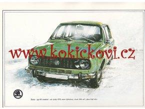 ŠKODA 105 STANDARD - REKLAMNÍ KRESBA REPRODUKCE - VLADIMÍR BIDLO - 1977