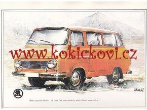 ŠKODA 1203 MIKROBUS - REKLAMNÍ KRESBA REPRODUKCE - VLADIMÍR BIDLO - 1972