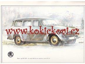 ŠKODA 1202 STW - REKLAMNÍ KRESBA REPRODUKCE - VLADIMÍR BIDLO - 1972