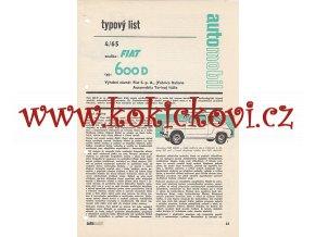 FIAT 600 D - TYPOVÝ LIST