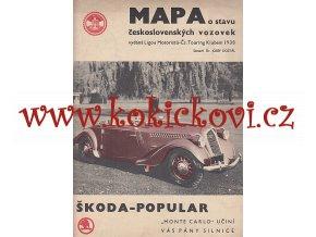 MAPA LIGY MOTORISTŮ - 1938 - ŠKODA POPULAR - MONTE CARLO - REKLAMNÍ SNÍMEK - PLAKÁT - SPHINX - VACUUM OIL COMPANY