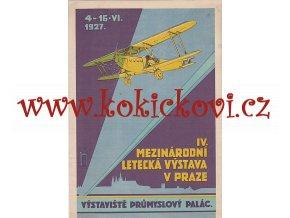 IV. MEZINÁRODNÍ LETECKÁ VÝSTAVA V PRAZE 1927 - REKLAMNÍ PLAKÁT NA KARTONU - 20*29,5 CM NOVOTNÝ - VÝSTAVIŠTĚ PRŮMYSLOVÝ PALAC