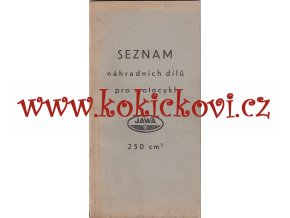 JAWA 250 ccm - seznam náhradních dílů - 1938 - 4. VYDÁNÍ - VELMI ZACHOVALÝ STAV