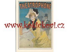 JULES CHÉRET: THEATROPHONE 1890 - REKLAMNÍ MOTIV - ZE SBÍREK SVČ. MUZEA ROZMĚRY 14,5*20,5 CM