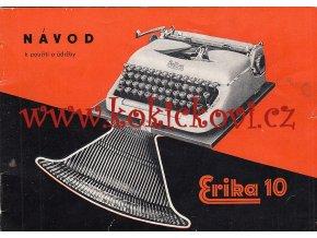 PSACÍ STROJ ERIKA 10 - ORIGINÁLNÍ NÁVOD K OBSLUZE - 1959 - ČESKY  - FORMÁT A6 - 26 STRAN