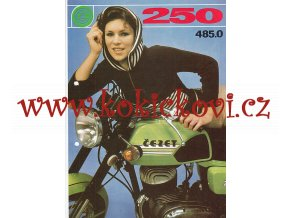 ČZ 250 typ 485-0 - motocykl prospekt - A4 - proděravěno