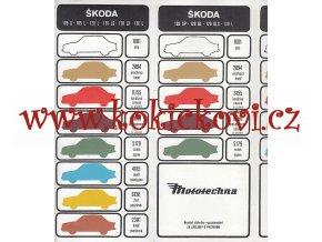 Vzorník barev automobilů Škoda 105, 120, 130 - Mototechna - 1985