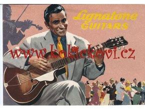 LIGANTONE GUITARS - BOHUMIL KONEČNÝ REKLAMNÍ PROSPEKT A4 Z R. 1955