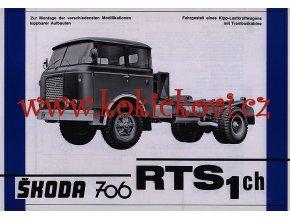 ŠKODA 706 RTS1 ch - reklamní leták - 1 list A4 - texty německy