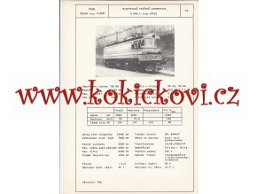 ELEKTRICKÁ TRAŤOVÁ LOKOMOTIVA S 499.1 - ČSSR ŠKODA PLZEŇ - TYPOVÝ LIST