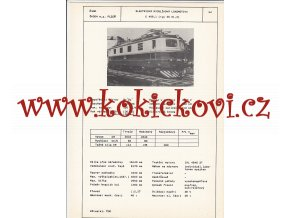 ELEKTRICKÁ RYCHLÍKOVÁ LOKOMOTIVA E 499.1 - ČSSR ŠKODA PLZEŇ - TYPOVÝ LIST