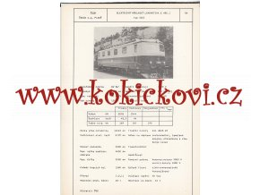 ELEKTRICKÁ NÁKLADNÍ LOKOMOTIVA E 461.1 ( TYP 43 E1 ) - ČSSR ŠKODA PLZEŇ - TYPOVÝ LIST